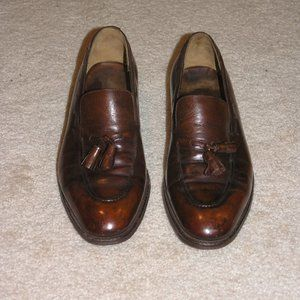 Hermes John Lobb Brown Leather Kiltie Loafers SZ 8
